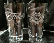 2015 NBA FINALS CLEVELAND CAVALIERS CONTENDER ETCHED 16 oz PINT GLASSES