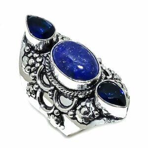 Lapis Lazuli, Sapphire Gemstone 925 Sterling Silver Ring Size 8