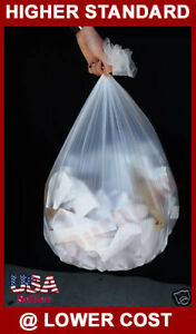 """250~ 33 Gallon 33x40"""" 16 Micron Natural HDPE Garbage Waste Trash Can Liner Bags"""