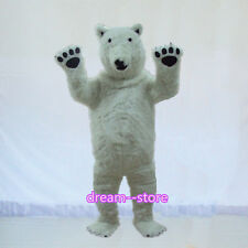 【SALE】 New White Polar Bear Mascot Costume Halloween Party Dress Adult Size