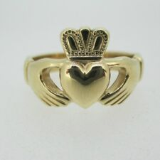 9k Yellow Gold Made in Ireland Claddagh Ring Size 9 1/2