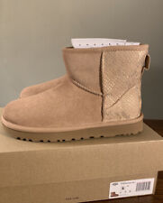 UGG CLASSIC MINI METALLIC SNAKE ROSE GOLD 1201472 SIZE 6 BRAND NEW WOMAN'S BOOTS