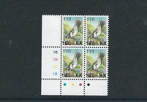 FIJI 2006-8 BIRD PROVISIONAL (Sc 1158a 18c on 6c 4mm) VF MNH plate block of 4
