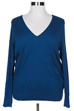 LANE BRYANT WOMEN'S BLUE V-NECK LONG SLEEVE SOFT COMFY SWEATER PLUS Sz 18/20