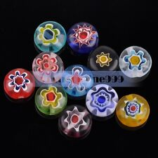 40pcs 8mm Oblate Multi-color Millefiori Lampwork Glass Charms Loose Spacer Beads