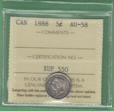 1888 Canada 5 Cents Silver Coin - ICCS Graded AU-58
