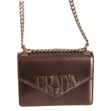 RRP €2330 PRADA Leather Crossbody Bag Logo Front Chain Strap Turnlock Flap