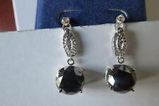Huge 14ct Black & white Diamond Solitaire 14k white  gold dangle earrings