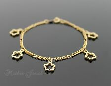 FUN GIRLS GIFT IDEA YELLOW GOLD PLATED FLOWER CHARM 18cm BRACELET 7 INCHES