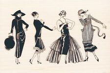 "Fashionista Ladies  Hampton Art RUBBER STAMP   5"" x 3 1/2""  NEW  Free Shipping"