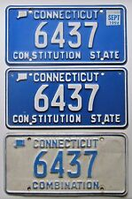 Connecticut 1994 THREE SAME NUMBER License Plates # 6437