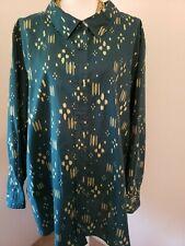 Denim 24/7 Womens Teal Green Print Button Up Long Sleeve Blouse Plus 32W