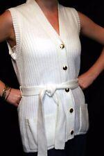 S White Knit Vtg 60s Cardigan Vest Belted Sweater Girl California Long Belted