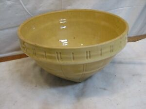 "Large 11-1/2"" Vintage McCoy Yellow Ware Mixing Bowl # 4 Sheild 11 Logo Yelloware"
