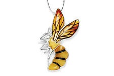 Baltic Amber Sterling Silver 925 Honey Bee Pendant Necklace Jewellery Jewelry