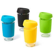 EZOWare Set of 4 500ml Glass Reusable Coffee Cups with Lid, Clear Travel Mugs or