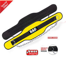 RAD Neoprene Dipping Belt/ Weight Lifting/Gym Dip Belt With Metal Chain Yellow N