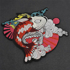 Japanese Koi Fish Embroidered Patches Iron On Applique Badge DIY Craft Sew On