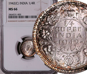 NGC MS-66 INDIA (BRITISH) SILVER 1/4 RUPEE 1942 (ONLY 1 HIGHER! POP: 3/1) LOT #1