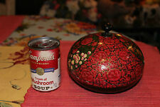 Stunning Wood Laquer Circular Box W/Painted Red Roses Flowers-Detailed-LQQK