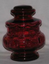 Cranberry Glass Covered Bowl - Optic Moon Pattern - Hand Made