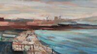 Quadro Astratto Dipinto Olio Moderno Firmato Paesaggio Industriale Golfo Napoli