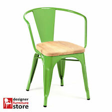 Replica Xavier Pauchard Tolix Metal Armchair - Green - 3cm Oak Wood Seat