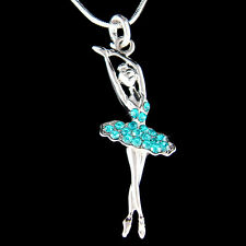 w Swarovski Crystal Teal Blue BALLERINA Ballet Dancer Charm Necklace Jewelry New