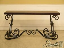 L43511: Walnut Top Iron Scrolled Base Console Sofa Table