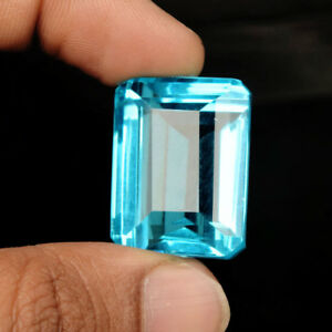 Swiss Blue Topaz 70-80 Ct. Emerald Cut Faceted Loose Gemstone For Jewellery