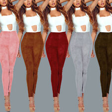 Sexy New Women Fashion 2017 High Waist Faux suede Pants Winter Bodycon Leggings
