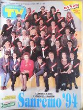 TV Sorrisi e Canzoni n°9 1994 Speciale Festival Sanremo 1994 Testi Canzoni [D43]
