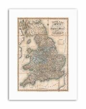 1830 PIGOT POCKET MAP ENGLAND AND WALES Vintage Canvas art Prints