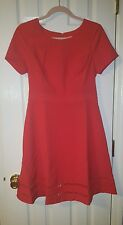 LARK & RO WOMENS MODERN STRETCH FIT AND FLARE DRESS SIZE 8 COLOR Lacquer Red