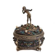 Antique Austrian 800 Silver Enamel and Gem Encrusted Figural Box, Emerald Pearls