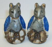 Vintage Hand Painted Japan Anthropomorphic Mice in Suits Salt & Pepper Shakers