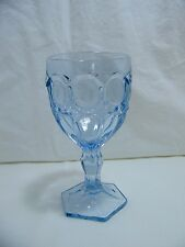 *NEW* Set of 8 Vintage FOSTORIA light BLUE wine glass MOONSTONE pattern NOS