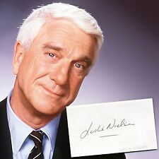 LESLIE NIELSEN DECEASED ACTOR AUTOGRAPHED CARD w/LIFETIME AUTHENTICITY GUARANTEE