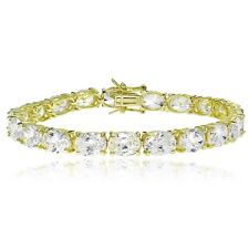 Gold Tone over Sterling Silver Oval Cubic Zirconia 8x6mm Tennis Bracelet