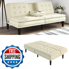Memory Foam Leather Futon Sofa Bed Couch Sleeper Cup Holder Pillow Top White New