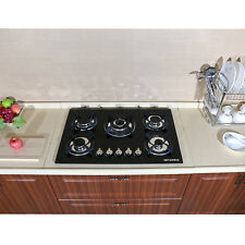 "Metalwell Kitchen 30"" Black Tempered Glass Built-in 5 Burners Gas Hob Cooktops"