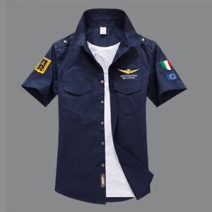 NEU Herren Damen Sommer Kurzarm Slim Fit Hemden Tops Aeronautica Militare Hemden