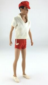 Vintage 1960's Barbie Ken Doll Mattel Red Swim Shorts Hat Made In Japan S163