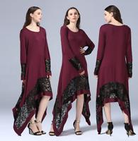 Women Lace Abaya Islamic Irregular Maxi Dress Muslim Kaftan Jilbab Dubai Robe