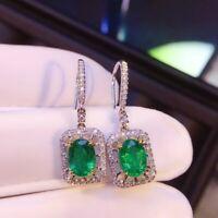 2.80Ct Princess Cut Emerald /& Diamond Drop /& Dangle Earrings 14K White Gold Over