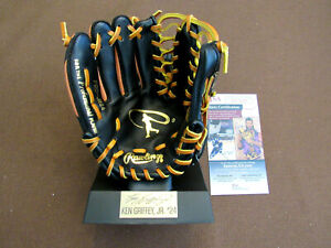 KEN GRIFFEY JR MARINERS REDS HOF SIGNED AUTO RAWLINGS MINI GLOVE WITH STAND JSA