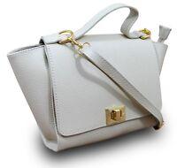 Made in Italy VERA PELLE ital.echt Leder Henkeltasche Tasche Handtasche Beige