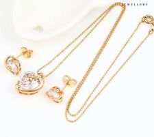 """9K 9ct Yellow """"Gold Filled"""" Ladies C/Z Heart Stones Necklace & Earrings Set."""