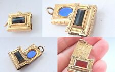 Victorian Gold Plate Book Pendant hidden Locket with Agates