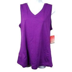 Danskin Now NWT Purple Sleeveless V Neck Athletic Tank Top Womens XL 16-18